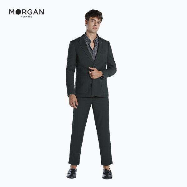 MORGAN HOMME กางเกงสแลค ทรง Slim ผ้านำเข้าจากต่างประเทศ รุ่น CANAL.S สีเขียว