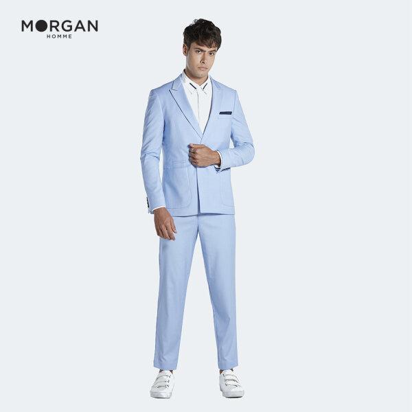 MORGAN HOMME กางเกงสแลค ทรง Slim ผ้านำเข้าจากต่างประเทศ รุ่น CANAL.S สีฟ้า