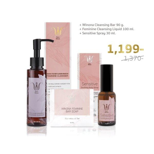 Winona Feminine Bar Soap + Feminine Cleansing Liquid + Sensitive Spray 30 ml.