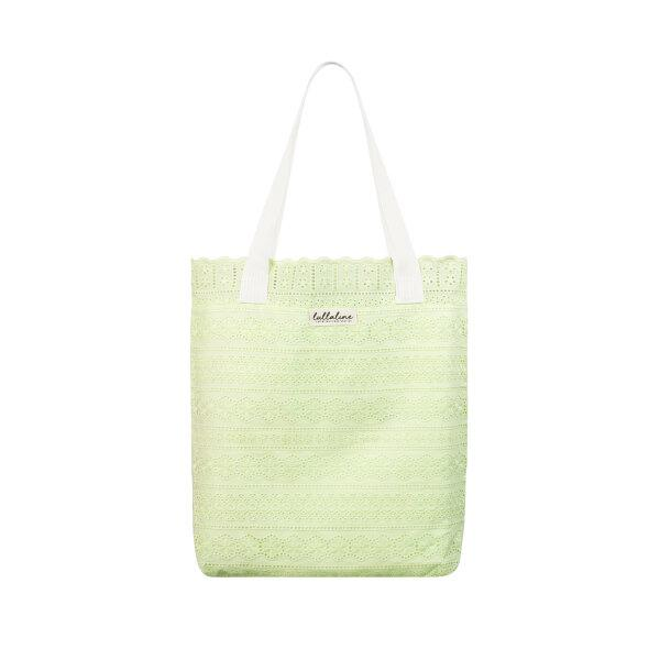 DAISY COTTON LACE TOTE BAG - LIME