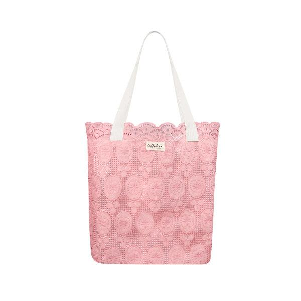 MIRROR COTTON LACE TOTE BAG - HOT PINK