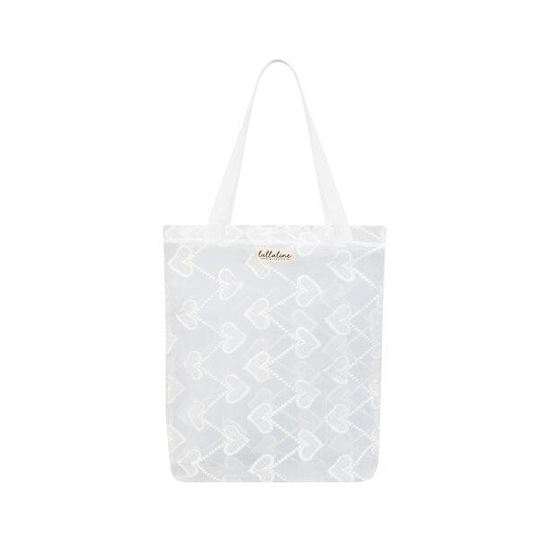 NECKLACE SEETHROUGH LACE TOTE BAG - WHITE
