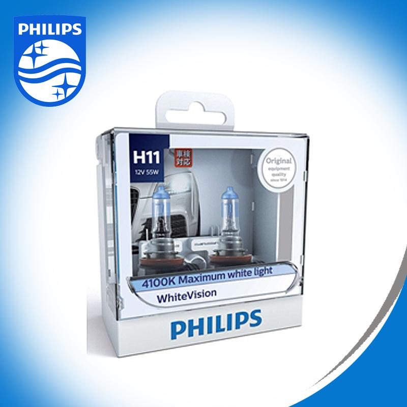 Philips หลอดไฟ รถยนต์ H11 รุ่น WHITE VISION แสง 4300K ให้ความสว่างเพิ่มอีก 60% รหัส 12362 WHV S2