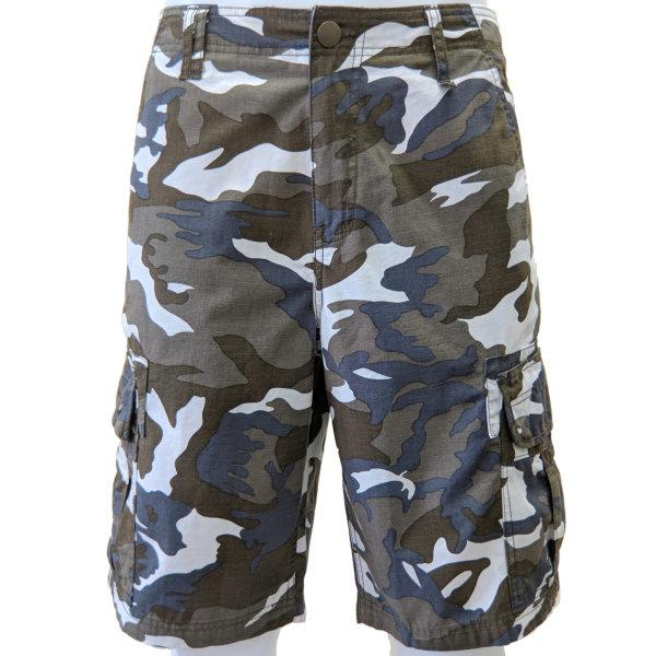 Cargo Shorts - White and Brown Camo