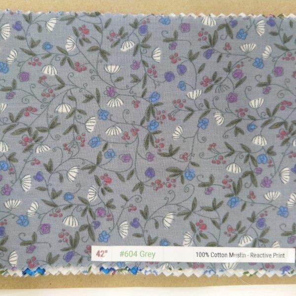 "6098 Cotton Muslin 42"" - Flower Print #604 Grey"