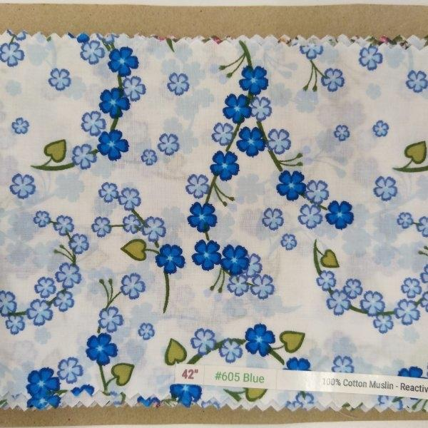 "6098 Cotton Muslin 42"" - Flower Print #605 Blue"