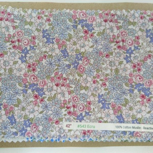 """6098 Cotton Muslin 42"""" - Flower Print #543"""