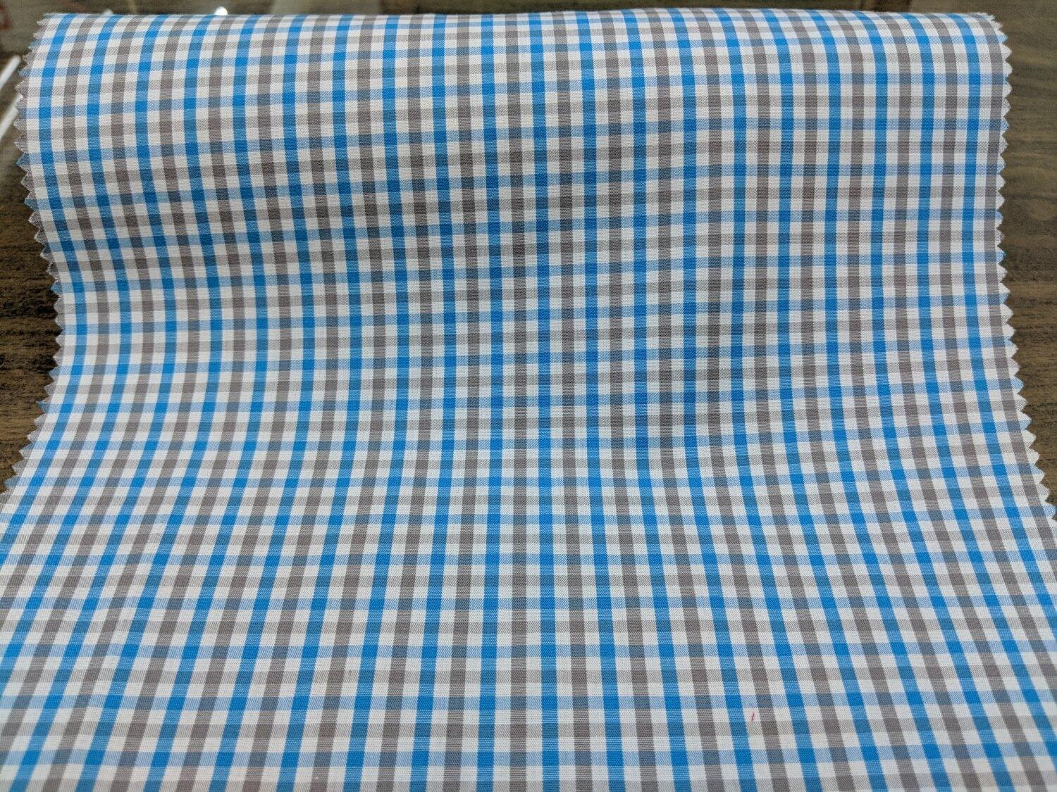 Cotton Blue and Grey Gingham