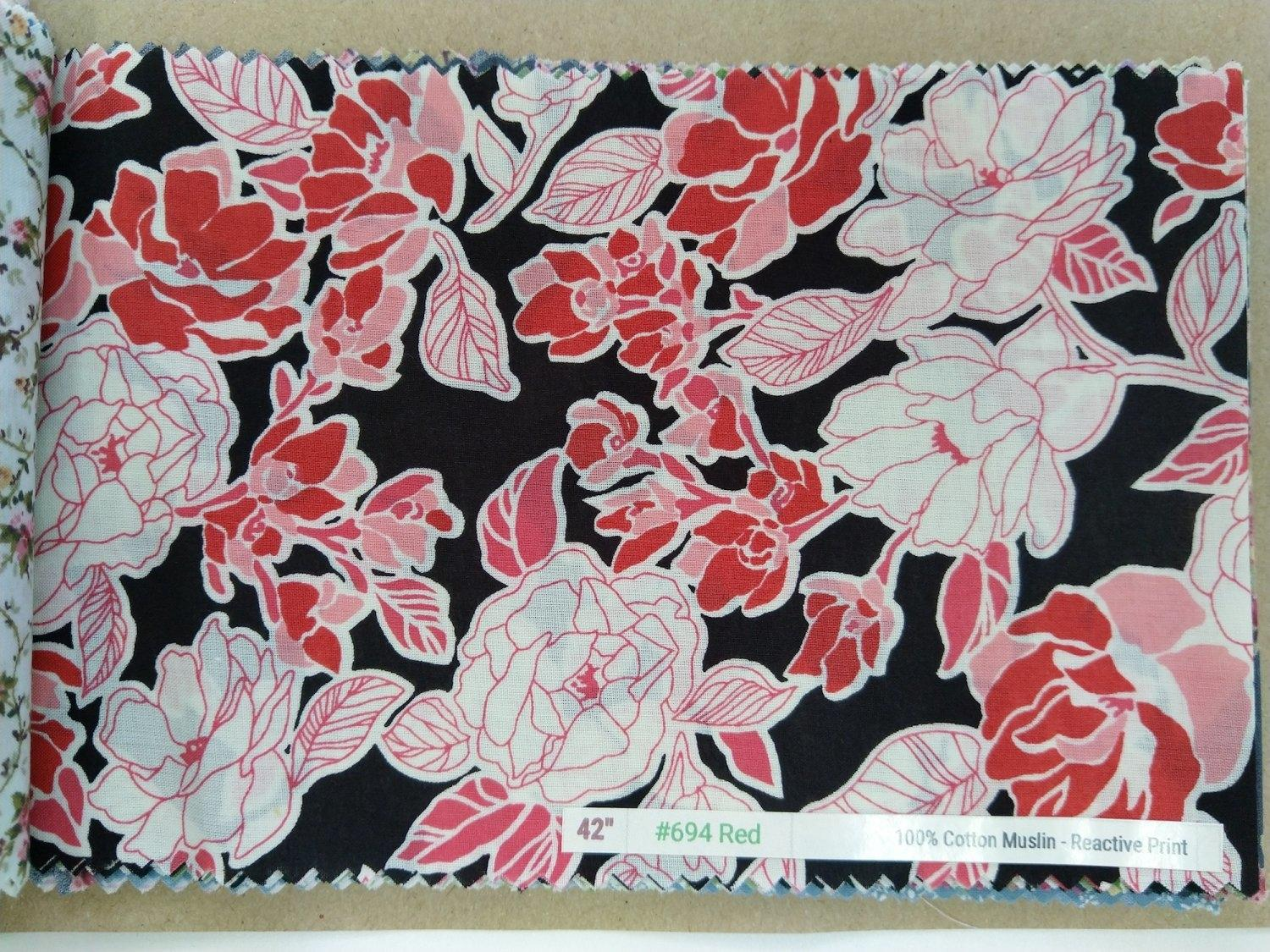 "6098 Cotton 42"" - Flower Print #694"