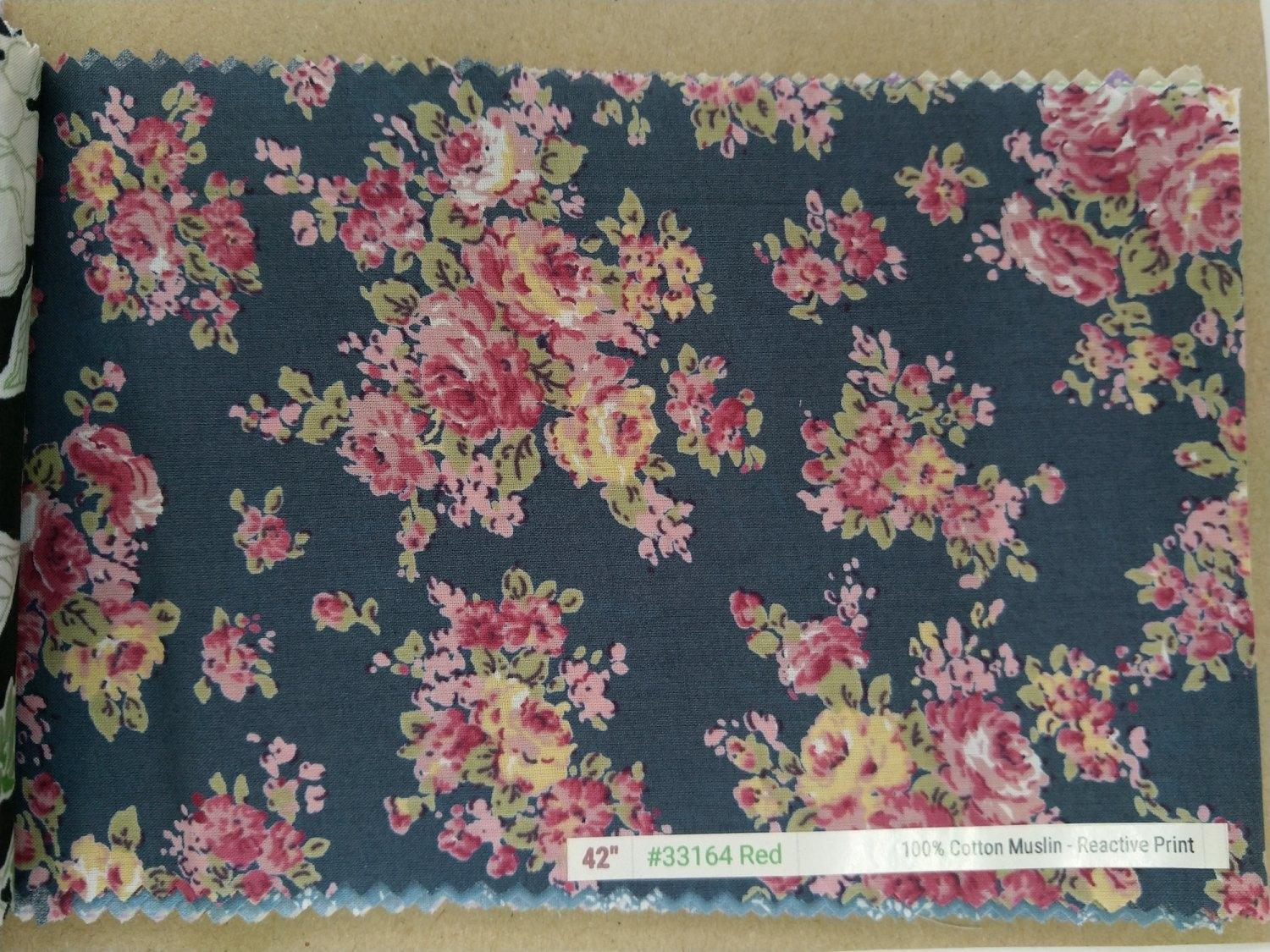 "6098 Cotton Muslin 42"" - Flower Print #33164"