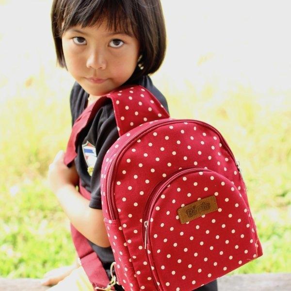กระเป๋าเป้คาด+สะพายหลัง no.24 (พื้นสีแดง จุดขาว)