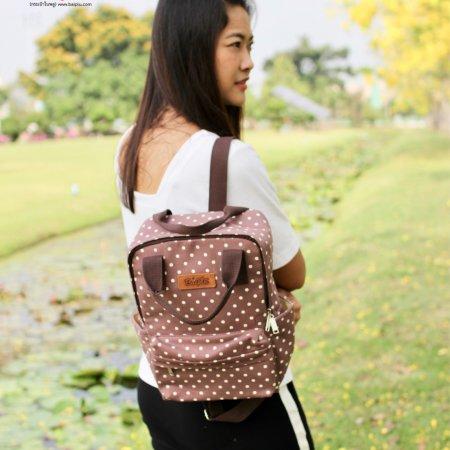 กระเป๋าเป้ใหญ่ทรงเหลี่ยม(จุดน้ำตาล) No.13