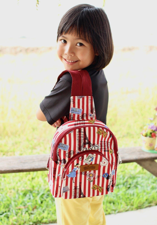 กระเป๋าเป้คาด+สะพายหลัง no.26 (ลายทางแดงขาว การ์ตูน)