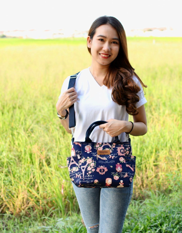 กระเป๋าผ้า Cotton ทรงกระเช้า ไซค์ M (No.10)
