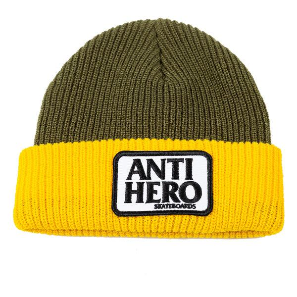 Anti-Hero Reserve Patch Beanie - Olive/Yellow