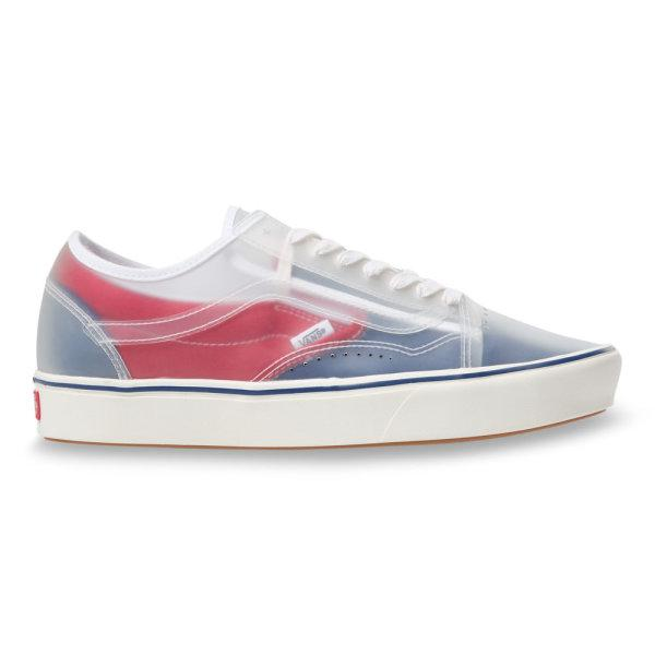 VANS CANVAS COMFYCUSH SLIP SKOOL - TRUE NAVY/RED